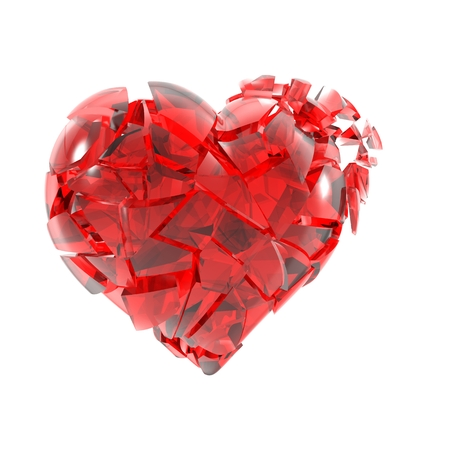 cordiality: Broken into small pieces of red glass heart. Stock Photo