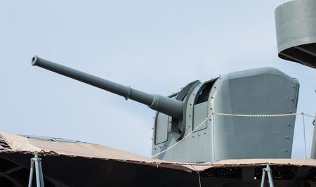 battleship: Artillery Battleship Stock Photo