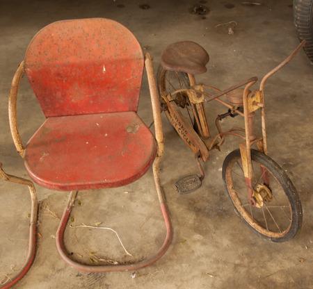 vintage chair: vintage chair and bike