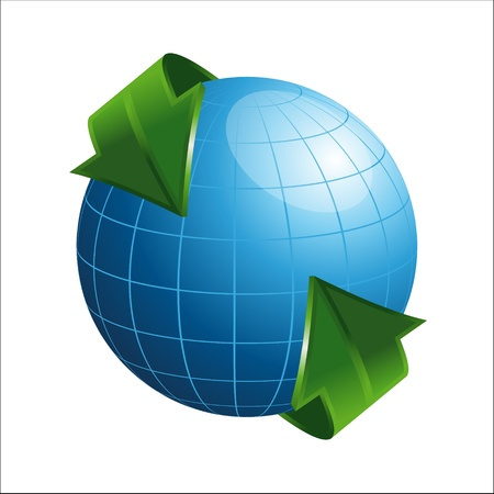 3D Globe With Arrows Illustration