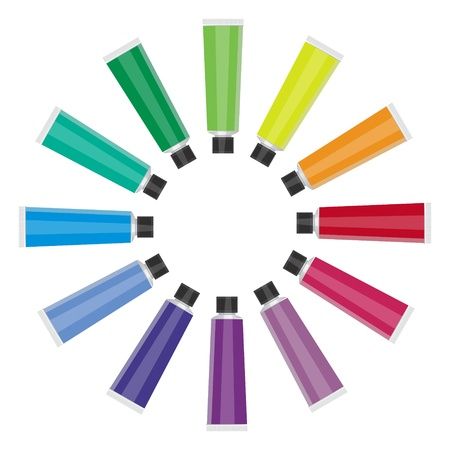 Color Tubes On White Background Illustration