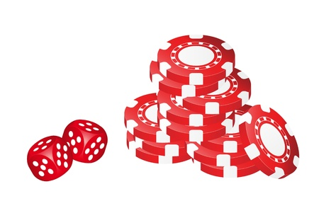 Poker Chips With Dice Illustration