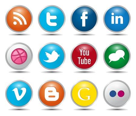 interaccion social: De color Iconos sociales de botones brillantes Editorial