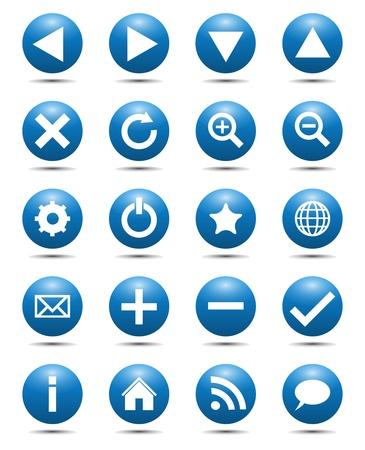 Blauw Navigation Web Icons Stock Illustratie