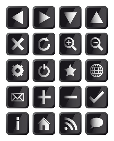 Glossy Black Square Navigation Web Icons Stock Vector - 13059385