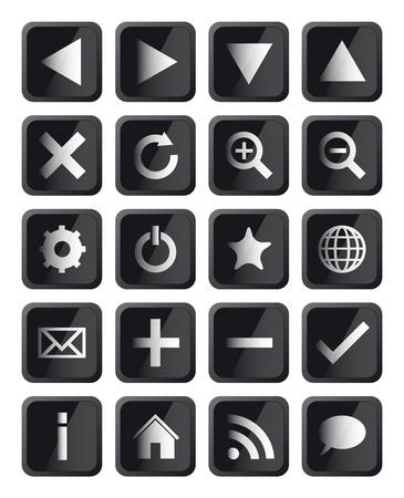 Glossy Black Square Navigation Web Icons Illustration