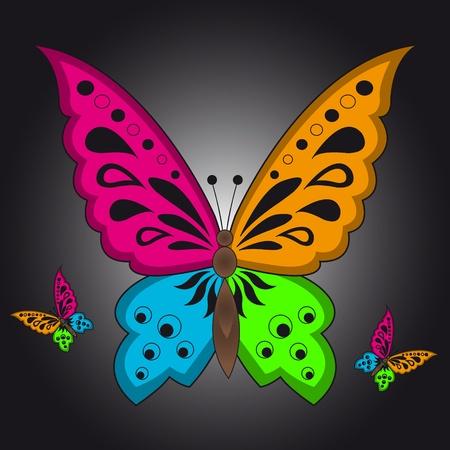 Kleur illustratie van een kleurrijke vlinder op zwarte achtergrond