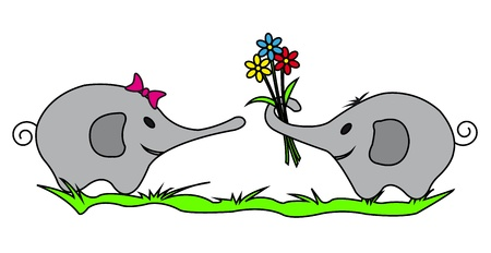 Two Elephants with Colorful Flowers Illustration