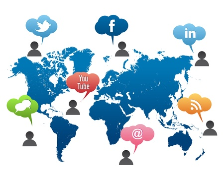 Social Media World Map Vector Editorial