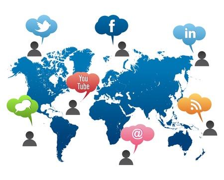 Social Media World Map Vector Editorial
