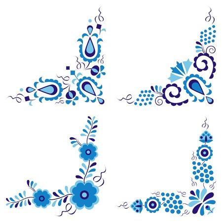 Traditionele folk patronen geïsoleerd op witte achtergrond