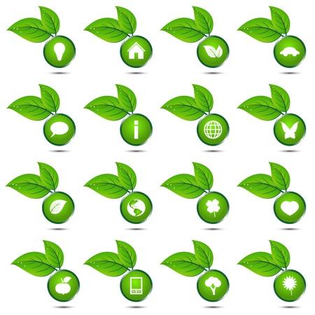 Vector verzameling van ecologische iconen Stock Illustratie