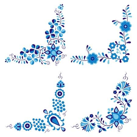 flowery: Los patrones tradicionales populares aisladas sobre fondo blanco Vectores