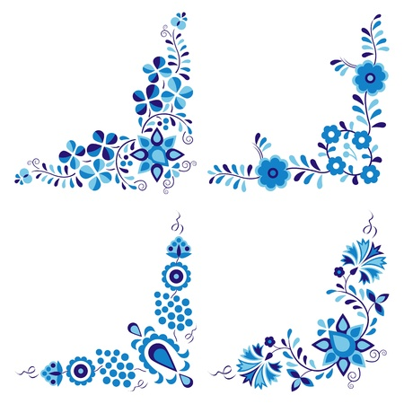 Traditional folk patterns isolated on white background Vector