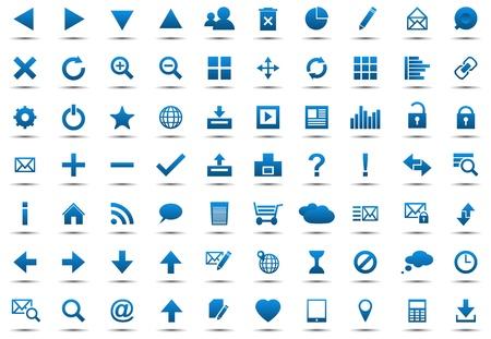 Set of blue navigation web icons isolated on white background