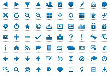 Set of blue navigation web icons isolated on white background