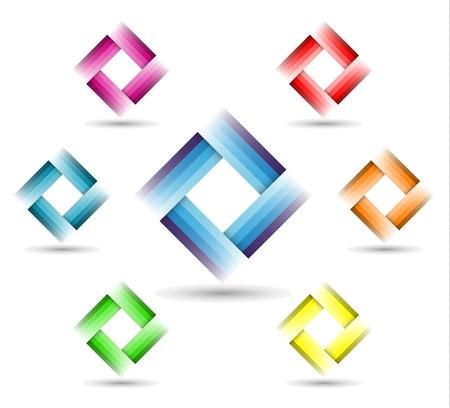 logos negocios: Color del s�mbolo de rect�ngulo en el fondo blanco - s�mbolo corporativo Vectores