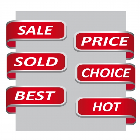 Set of red sales ribbon banner