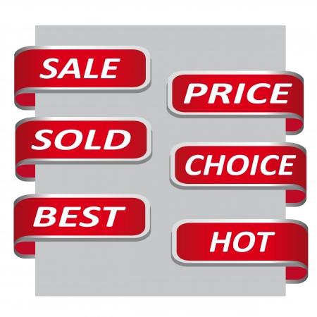 Set van rode verkoop lint banner