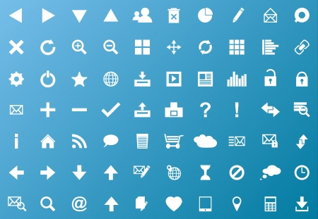 Set of white navigation web icons on blue background