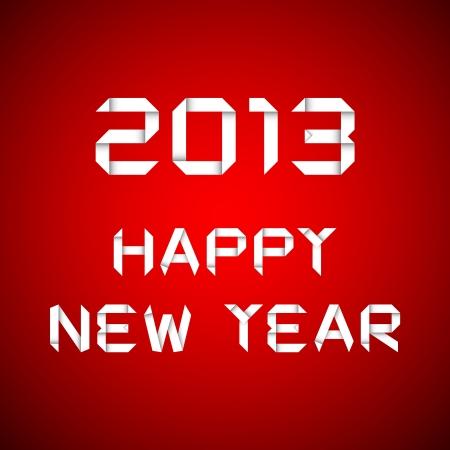 2013 Frohes neues Jahr, Happy New Year Card, roter Hintergrund Illustration