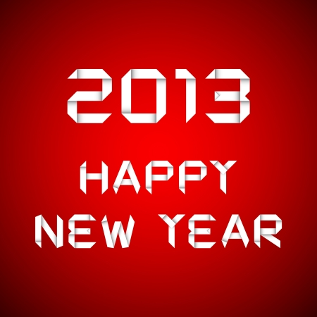 2013 Happy new year, happy new year card, red background