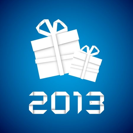 Christmas gift from white paper, new year card, blue background