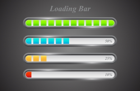 Modern color loading bars set on grey background Ilustração