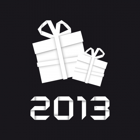 Origami christmas gift, new year card, black background