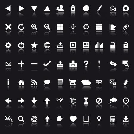 Set van witte navigatie web pictogrammen op zwarte achtergrond