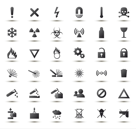 Black warning and danger signs collection Illustration