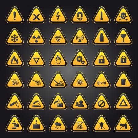 Amarillo de advertencia y peligro signos colección Foto de archivo - 16426280