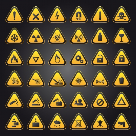 flammable warning: Yellow warning and danger signs collection