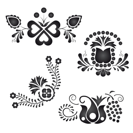 background motif: Traditional folk ornaments isolated on white background