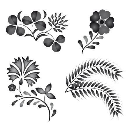 Traditional Folk Ornamenten auf weißem Hintergrund