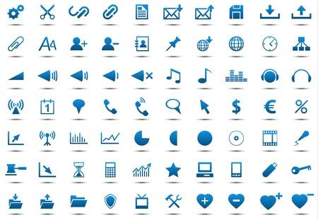 Set of blue icons isolated on white background