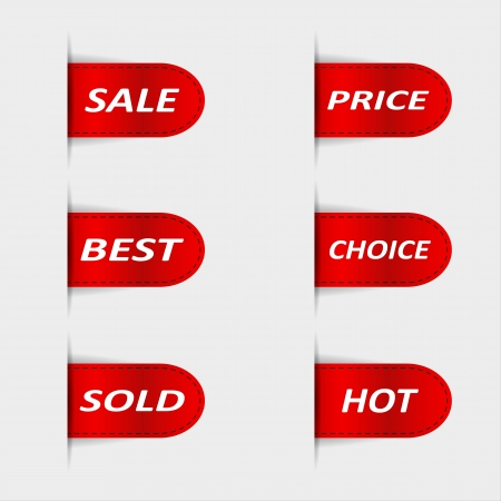 Set of red sales labels  Vector illustration