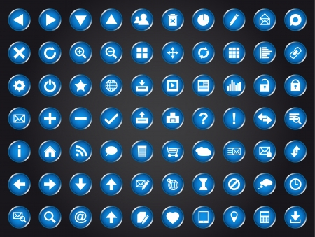 clout: Set of blue universal web icons isolated on black background