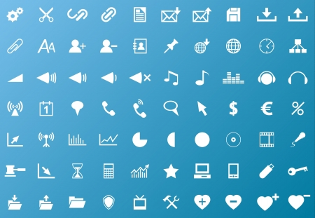 Set of white navigation web icons on blue background Stock Vector - 17630709