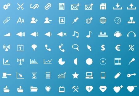 Set of white navigation web icons on blue background