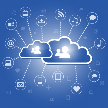 Cloud computing concept with communication icons Vector