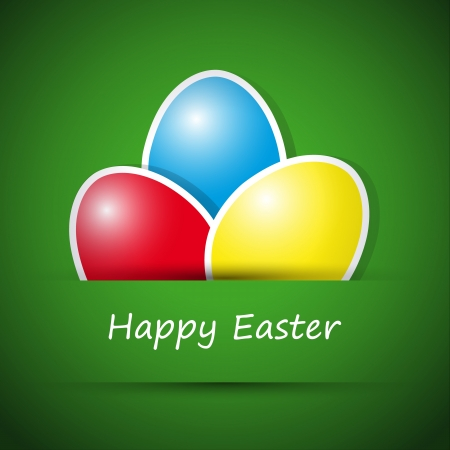 Happy easter card with eggs, vector illustration