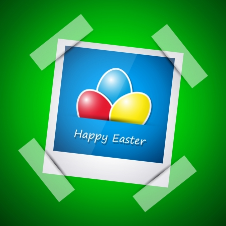 Happy easter card, happy easter picture in photo frame Vector