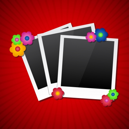 frames with colored flowers