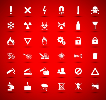airwaves: White warning and danger signs collection on red background