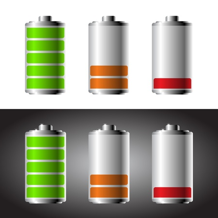Battery set with color levels Stock Vector - 20294567