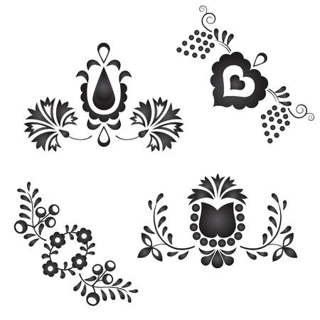 전통 민속 장식 흰색 배경에 고립 일러스트