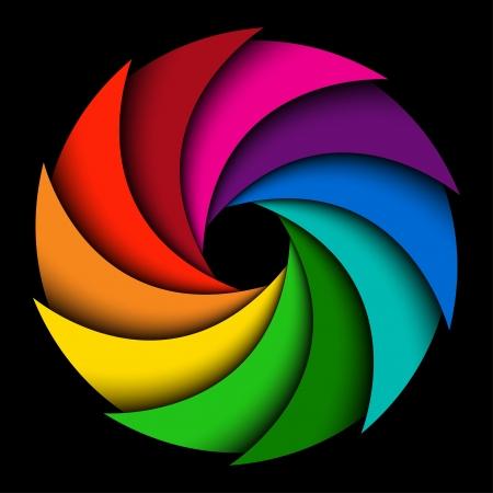 Kleurrijke regenboog swirl op zwarte achtergrond, abstracte kleur achtergrond Stock Illustratie