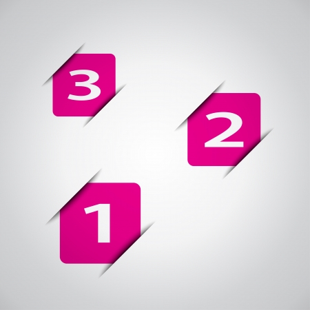 Pink squares with number one, two and three, business vector design