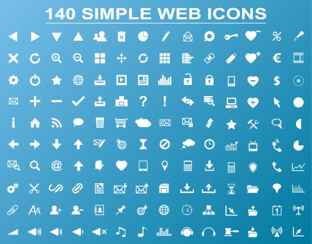 clout: Set of 140 simple white navigation web icons isolated on blue background